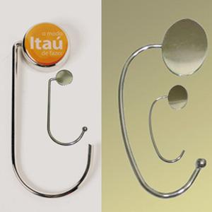 madson-brindes - Porta bolsa em metal cromado personalizável.