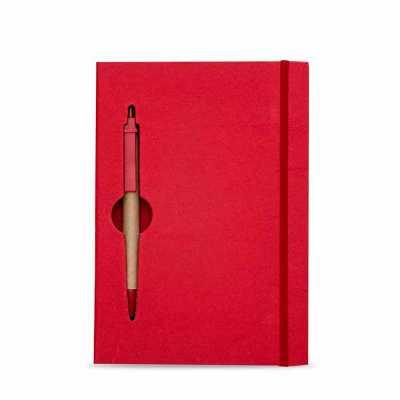 o-medico-das-canetas - Bloco de anotações ecológico colorido com caneta. Capa de papelão com recorte vazado (as folhas também) no qual é possível visualizar a caneta na part...
