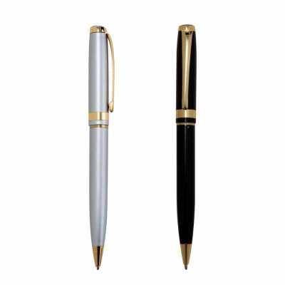 o-medico-das-canetas - Caneta Esferográfica Semi-Metal com detalhes dourados. Clip metálico dourado, anéis centrais e ponteira também na cor dourada. Disponível nas cores pr...