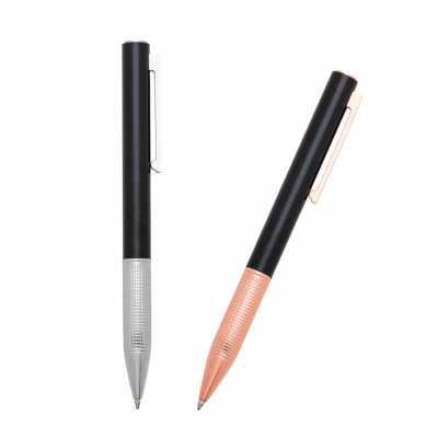 o-medico-das-canetas - Caneta Esferográfica Metal Preta com detalhes Prateados ou Rose