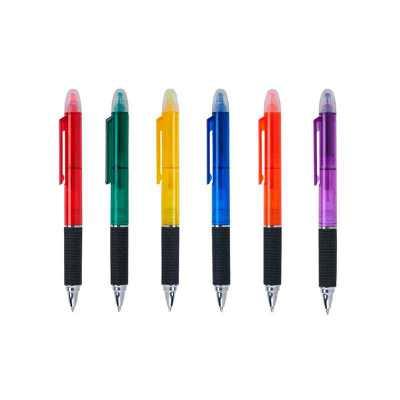 o-medico-das-canetas - Caneta plástica com marca texto. Corpo translúcido colorido, marca texto(colorido) superior com tampa de proteção, anel plástico inferior e detalhe pr...