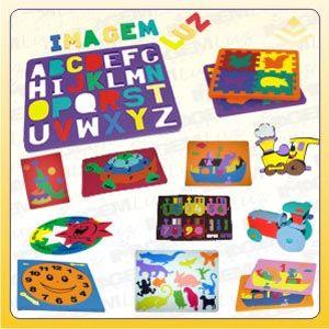 Imagem Luz Brindes - Jogos de encaixe personalizados nos mais diversos formatos pedagógicos. Com impressão em Off-set ou Silk Screen, confeccionados em Pvc, borracha expan...