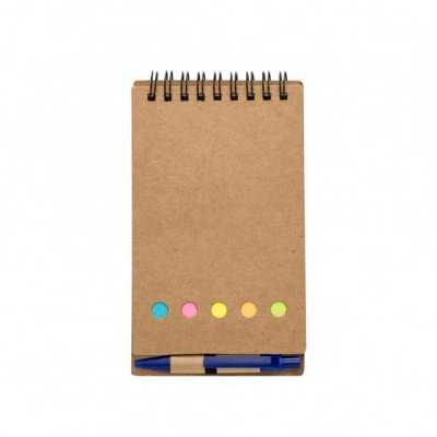 fabrika-de-chaveiros - Bloco de anotações ecológico com espiral, material em kraft. Possui uma mini caneta de papelão com acabamentos plásticos acionada por clique, cinco bl...