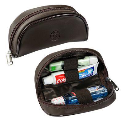 Kit bucal personalizado em sintético ou couro com enxaguante bucal, escova de dentes e creme dental. Medida: 146 x 4,5 x 9 cm