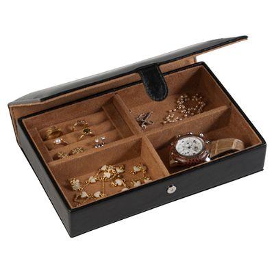 Maria Coura Brindes - Porta-jóias personalizado em couro ou sintético com encaixes para anel. Medida: 23,7 x 15,5 x 5 cm