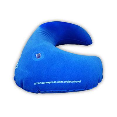 tatabras - Travesseiro inflável, flocado na cor azul