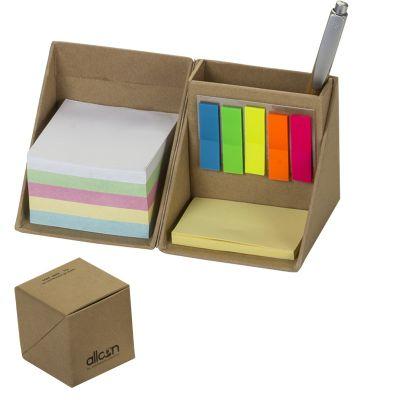 Asga Brindes - Bloco de anotações e porta canetas, porta lembrete adesivo, folhas de anotações em cubo articulado em papel kraft.