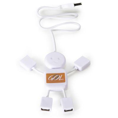 Asga Brindes - Hub personalizado em forma de boneco com 4 entradas USB