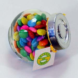 brindes-da-terra - Mini baleiro de vidro personalizado. Personalização: aplicação de adesivo vinílico ou silk screen.