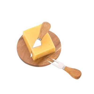 Kit queijo em madeira com 3 peças personalizado