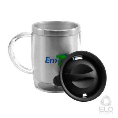 elo-brindes - Caneca 400ml, inox e resina translúcida
