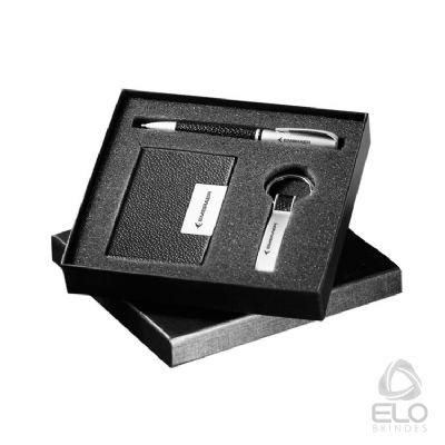 Elo Brindes - Conjunto de chaveiro, caneta e porta cartão