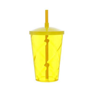 Com capacidade de 700ml, o copo plástico com tampa e canudo personalizado tem detalhe de espiral ...