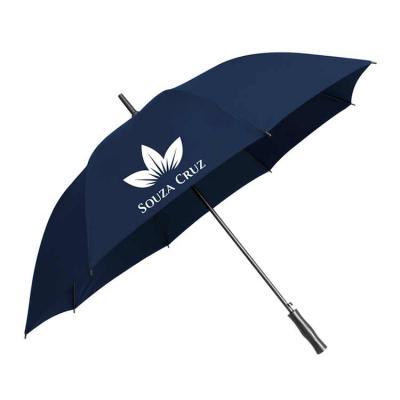 O guarda-chuva longo automático personalizado é confeccionado em tecido Pongee e apresenta secage...