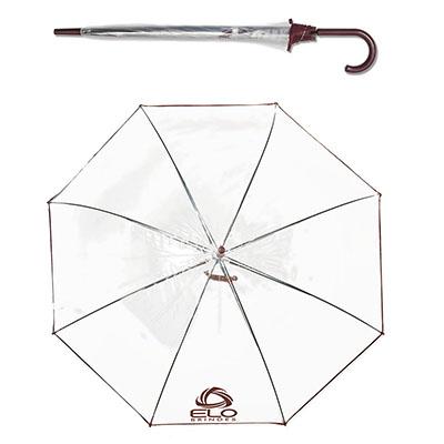 elo-brindes - Guarda-chuva Transparente Automático.Plástico PVC barrado colorido em cores sortidas, armação e varão cromados, diâmetro de 0,99 m e com envergadura d...