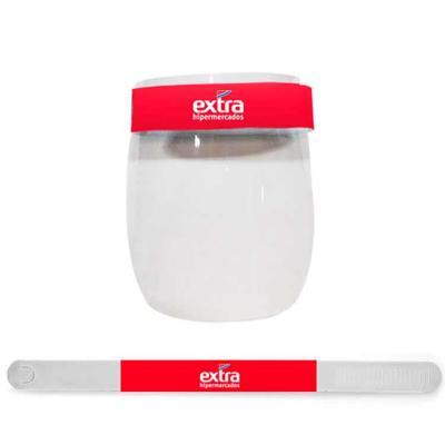 A máscara de proteção Face Shield é confeccionada em plástico. Material: PET. Cor: Transparente. ...