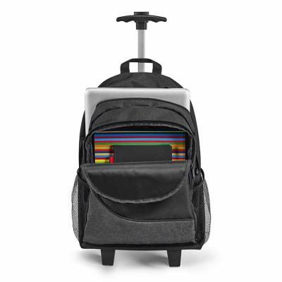Confeccionada em 300D e disponível na cor preta, possui duas rodas, compartimento principal forra...