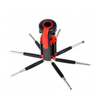 Globo Brindes - Kit ferramenta retrátil com 7 chaves e lanterna de 6 Leds. Material plástico, possui 3 chaves Philips; 3 chaves de fenda; chave de ponta dupla sendo u...