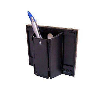Porta caneta com mini relógio 10,5 x 8 x 6 cm