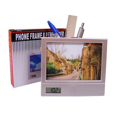 globo-brindes - Relógio com porta foto e porta canetas