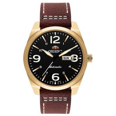 Orient Relogios - Relógio de pulso com caixa de aço e pulseira de couro marrom.