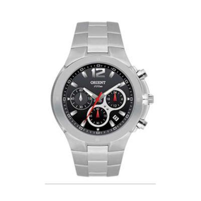 orient-relogios - Relógio de pulso com calendário, cronógrafo e caixa em aço inoxidável.