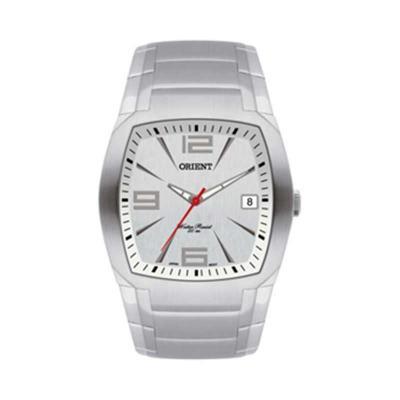 Relógio de pulso com calendário e caixa em aço inoxidável.