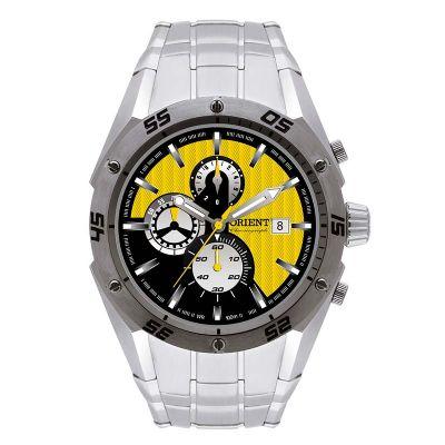 Relógio de pulso esportivo, confeccionado em aço inoxidável.