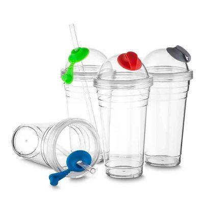 Polymark Produtos Promocionais - Copo plástico com tampa e canudo