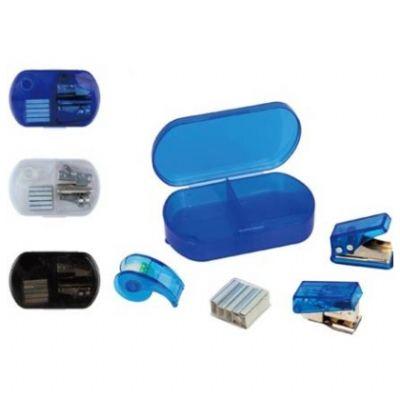 Polymark Produtos Promocionais - Kit escritório em estojo plástico com grampeador e fita adesiva.