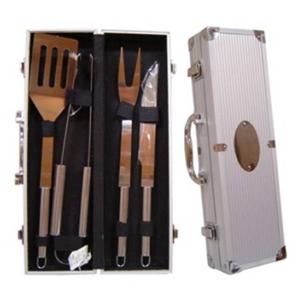 Polymark Produtos Promocionais - Maleta para churrasco em aço inox, com 4 peças.