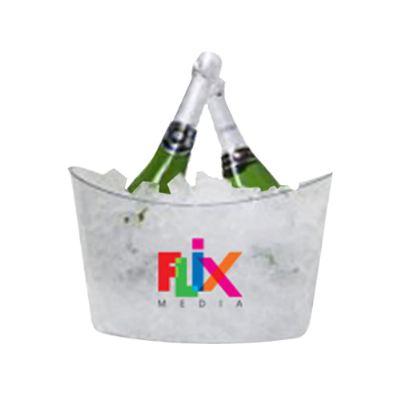 Promoline Brindes Personalizados - Balde champanheira para até 5 garrafas em PS cristal
