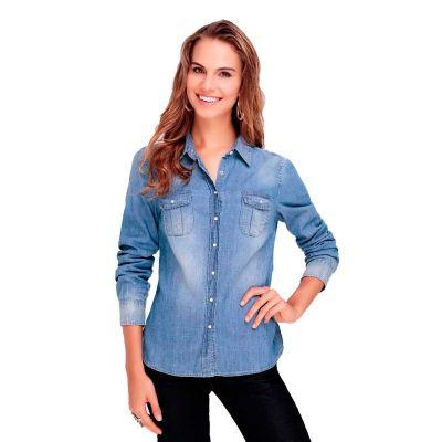 Promoline Brindes Personalizados - Camisa social jeans sem lavar feminina manga longa