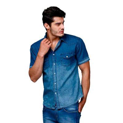 Promoline Brindes Personalizados - Camisa social jeans sem lavar masculina manga curta