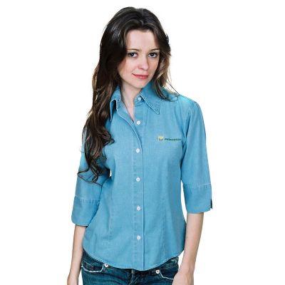 Promoline Brindes Personalizados - Camisa social jeans sem lavar feminina com manga 3/4