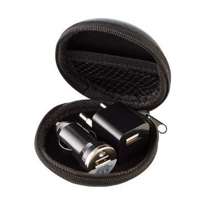 promoline-brindes-personalizados - Carregador adaptador carro - elétrico 2 peças kit USB