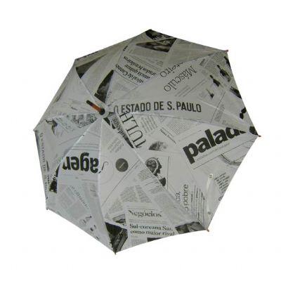Promoline Brindes Personalizados - Guarda chuva automático cabo bengala madeira 1,20 metros