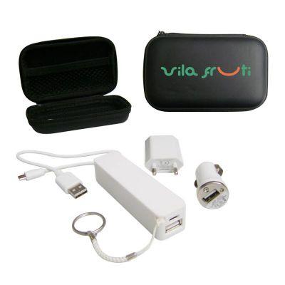 Promoline Brindes Personalizad... - Carregador adaptador carro / Elétrico 4 peças kit USB