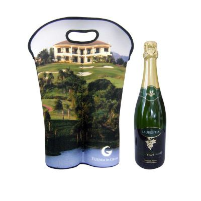promoline-brindes-personalizados - Porta Vinho 2 garrafas Neoprene Transfer
