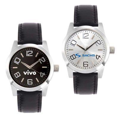 Promoline Brindes Personalizados - Relógio de pulso unissex pulseira couro 50.