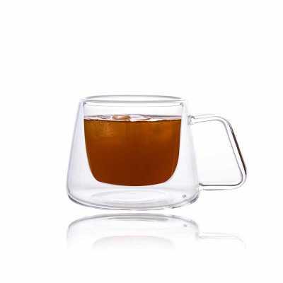 queens-brindes - Xícara Cristal Double Wall para Café com pires - 170 ml - Elegance