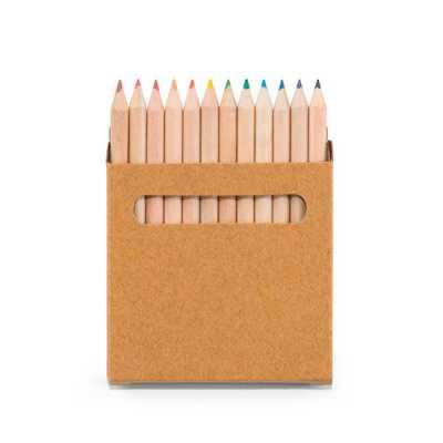 Caixa de cartão com 12 mini lápis de cor. Cartão. 90 x 90 x 9 mm