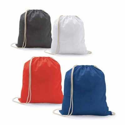 - Sacola tipo mochila. 100% algodão: 100 g/m². 370 x 410 mm
