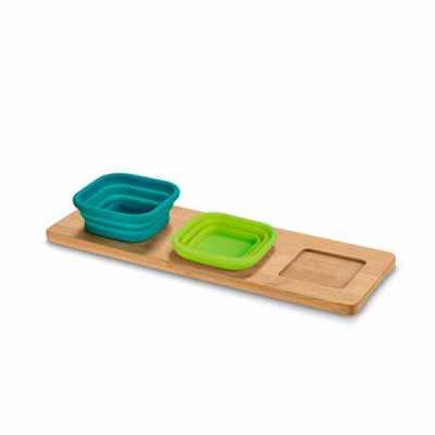 Base de mesa com 3 potes. Bambu e silicone. Incluso caixa de cartão. Food grade. Potes: 87 x 87 x...