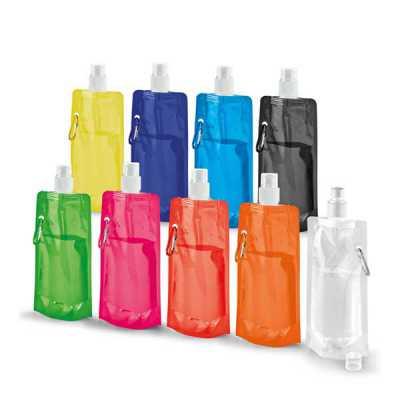 Queen's Brindes - Squeeze dobrável. PE. Capacidade até 460 ml. Food grade. 110 x 218 x 64 mm