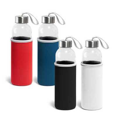 Squeeze. Vidro e aço inoxidável. Capacidade: 520 ml. Fornecido com luva em softshell. Food grade....