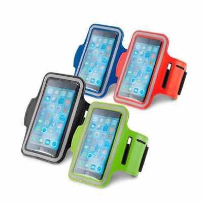 queens-brindes - Braçadeira para celular. Soft shell de alta densidade. Com elementos refletivos e fecho ajustável. Para smartphone 5''. 430 x 150 mm