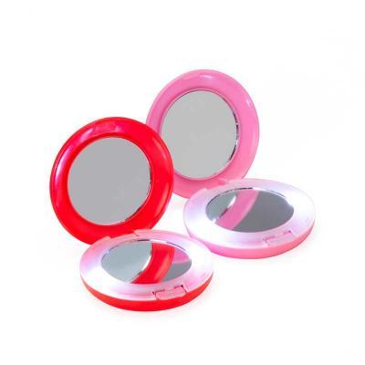 Espelho plástico redondo duplo com aumento e com luz. Parte superior não é plana(apenas círculo c...