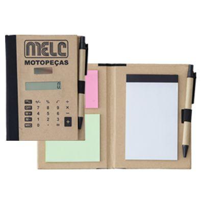 Queen�s Brindes - Bloco com caneta, sticky notes e calculadora.