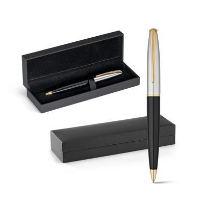 Esferográfica. Metal. Clipe, anel e ponteira com banho de ouro de 18 quilates. 1,5km de escrita. ...